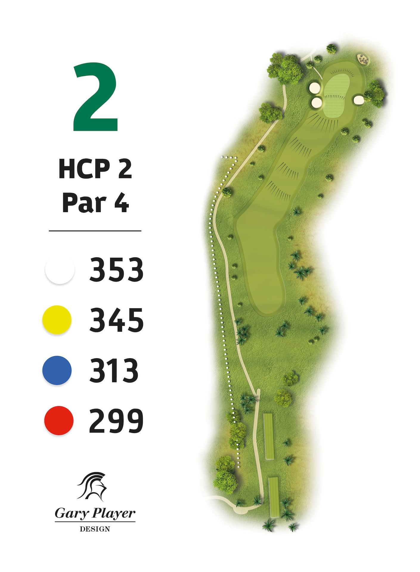 HOLE 2 | A very long drive is required to get up in two on this challenging dogleg right par 4. The large green is protected by a deep bunker on the left, which is to be avoided. The second shot to the green requires 1 or 2 extra clubs. There is another kinder bunker mid green on the right as well.