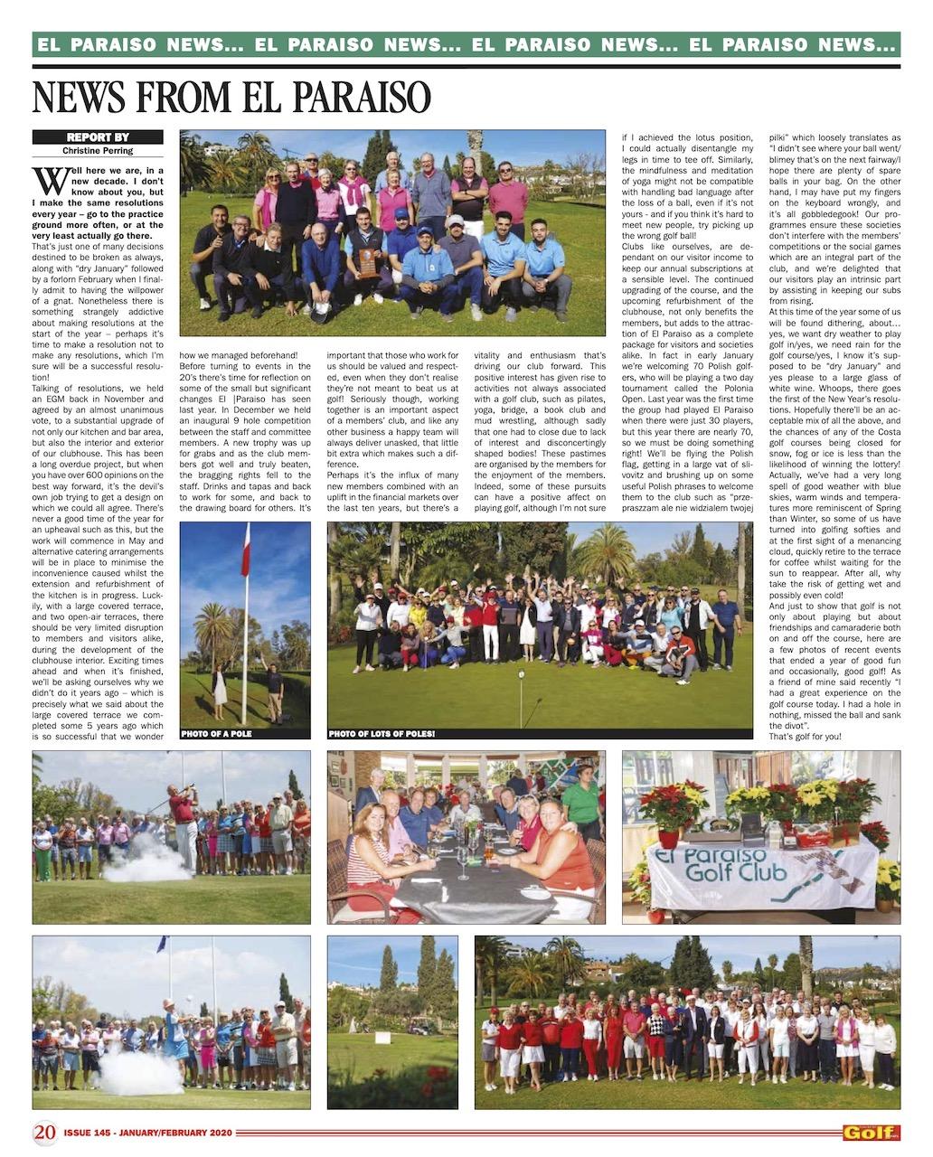 News January & February in El Paraiso Golf