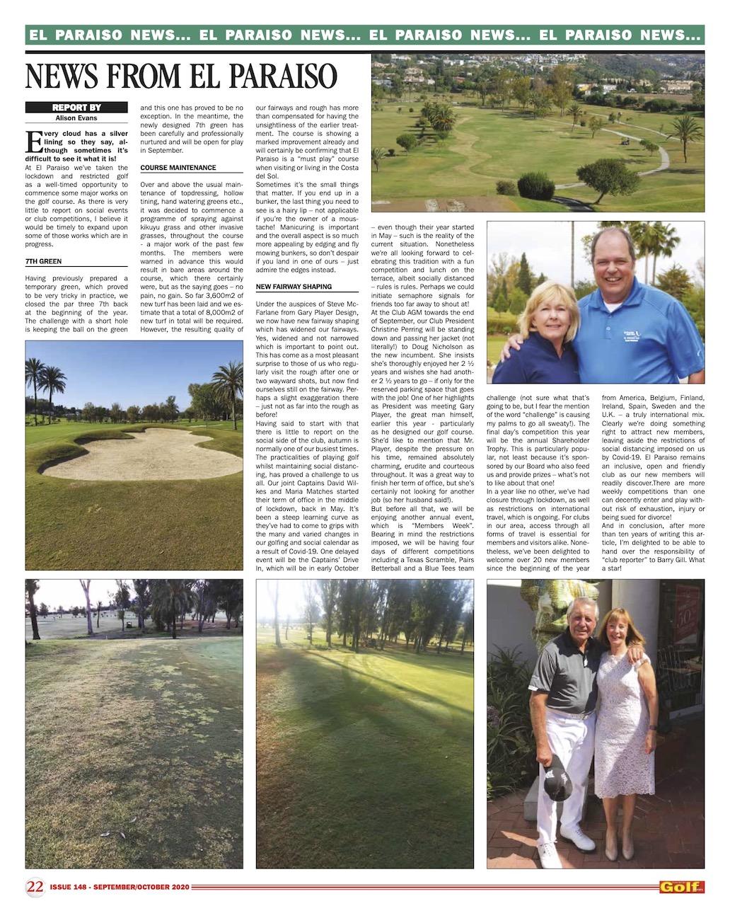 News September & October 2020 · El Paraiso Golf